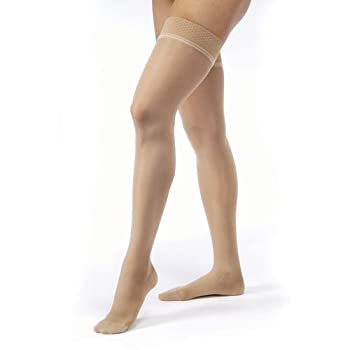 Jobst #122302 Large Silky Beige Ultrasheer 15-20 Thigh Hi with New Silicone Dot Band
