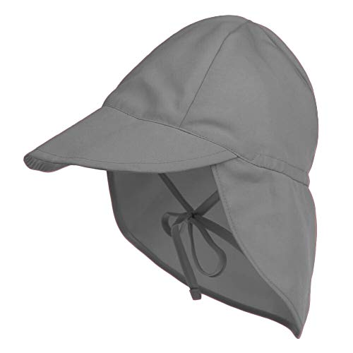 Protective Baby Sun Hat with UPF 50+ Protection Adjustable Infant Summer Beach Flap Hats for Boy & Girl Breathable Toddler Swim Pool Play Sunhat with Wide Brim Grey 6-18 Months (44-48 cm)