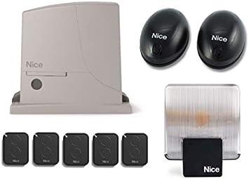 Nice ROX600 FULL KIT (motor ROX600 + 5 X FLO2RE transmisores + BF par de fotocélulas + ELAC 230V Luz intermitente) para el accionamiento de puertas correderas de hasta 600 kg: Amazon.es: Bricolaje y herramientas