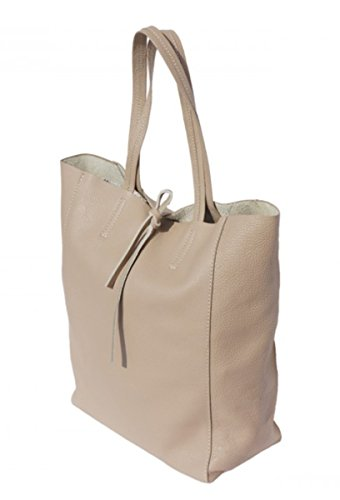 SUPERFLYBAGS Borsa Donna Shopper a Spalla In Vera Pelle modello Elba Made In Italy Taupe