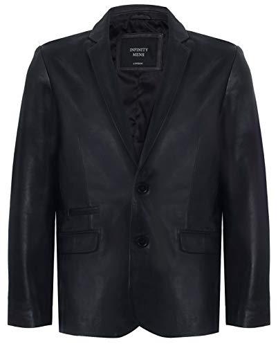 Men's Black Genuine Leather Blazer Soft Real Italian Fitted Vintage Jacket Coat L
