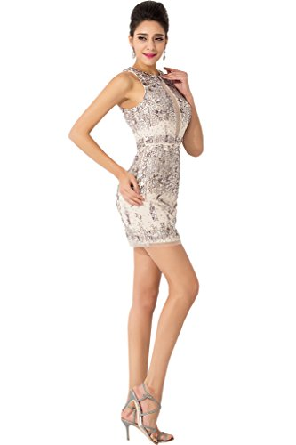 Sunvary Robe de Cocktail de Party Court Faux diamants Transparent Sexy