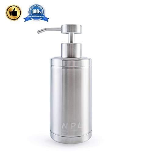 NPL Antirust Countertop Soap Dispenser 304 Stainless Steel 10oz Soap and Liquid Dispenser for Kitchen and Bathroom for Home Kids Office (Natural Soap Chrome Dispenser)