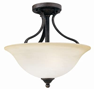Thomas Lighting SL8420-22 Prestige Collection Two-Light Semi-Flushmount fixture with Oval Tubing and Cognac Edged Glass