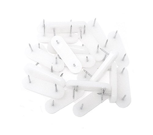 Honbay 20pcs Plastic Head Double Pins Bed Skirt Holding Pins Furniture Chair Leg Feet Pads Glide Nails ()
