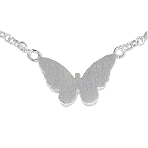 NOVICA .925 Sterling Silver Charm Anklet, 9.75 Butterfly Silhouette