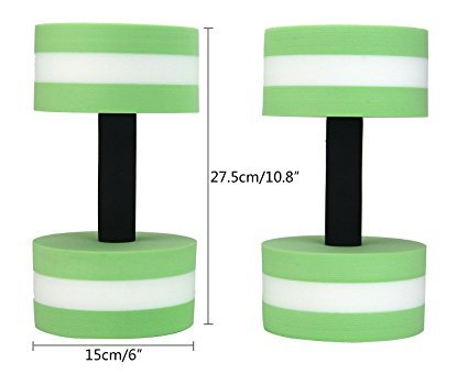 BigBoss Sports Aquatic Exercise Dumbbells Aqua Fitness Barbells Exercise Hand Bars - Set of 2 - For Water Aerobics (green)