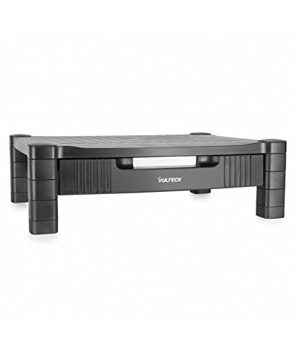 VulTech ME-01 Monitor de plástico / Soporte de impresora, ajustable en altura, con cajón, Negro