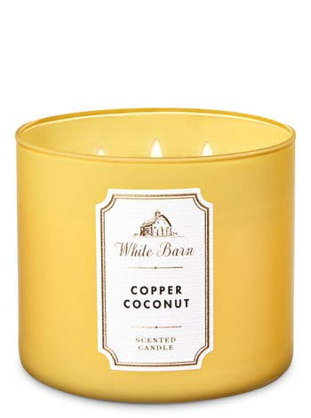 Coconut Scented Bath - Bath and Body Works White Barn 3 Wick Scented Candle Copper Coconut with Essential Oils and Marble Lid 14.5 Ounce