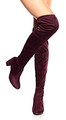 OLIVIA K Womens Thigh High Boots Over The Knee Party Stretch Block Mid Heel Size, Red Suede, 5.5 B(M) US