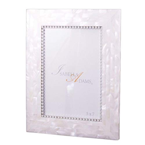 White Opal Frame - Isabella Adams 5 x 7 Mother of Pearl Picture Frame Featuring White Opal Swarovski Crystals