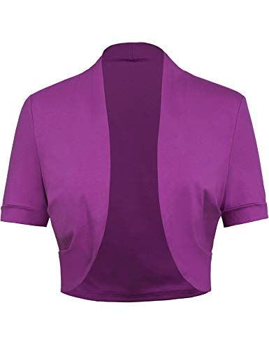 Womens Open Front Cropped Bolero for Sleeveless Tops (S,Purple)
