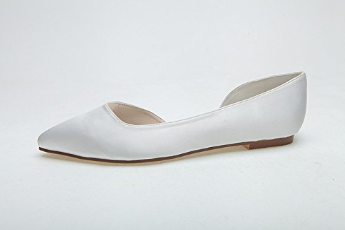 Scarpe da donna della pompa del tallone delle donne Sandal Flat Bottom Inside Vuoto, bianco, US8 / EU39 / UK6