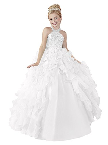 HuaMei Big Girls' Chiffon Halter Birthday Party Ball Gowns Kids Pageant Dresses 16 US White by HuaMei