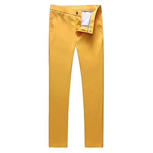 UNINUKOO Mens Tuxedo Slim Fit Business Wedding Suit Pants US Size 34 Yellow (Yellow Pants Men)
