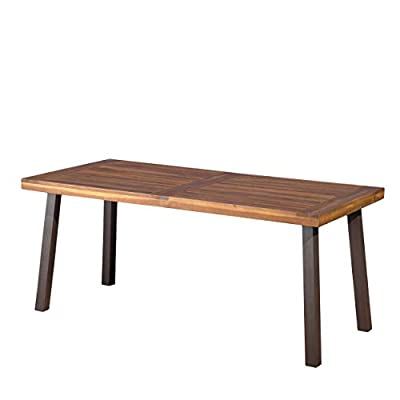 """Christopher Knight Home Della Acacia Wood Dining Table, Natural Stained With Rustic Metal - Includes: one (1) Table Dimensions: 32.25""""D x 69.00""""W x 29.50""""H Material: Acacia wood - kitchen-dining-room-furniture, kitchen-dining-room, kitchen-dining-room-tables - 31nM4xD%2BusL. SS400  -"""
