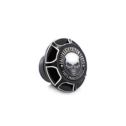 (GUAIMI CNC Aluminum Fuel Gas Tank Oil Cap For Harley Davidson Sportster XL 1200 883 X48 Dyna - Glued California Skull - Black)