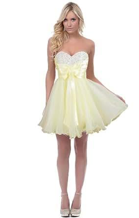 Faironly Nxm3 Girls Mini Party Cocktail Prom Dress (XXL, Yellow)