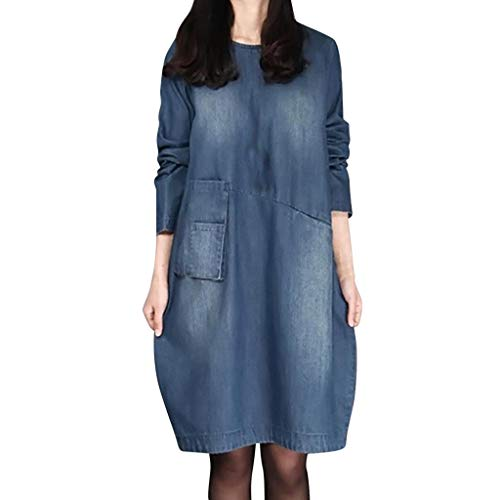 (iLUGU Fashion Women Denim Dress Knee Length Long Sleeve O-Neck Waistband Loose Dress)