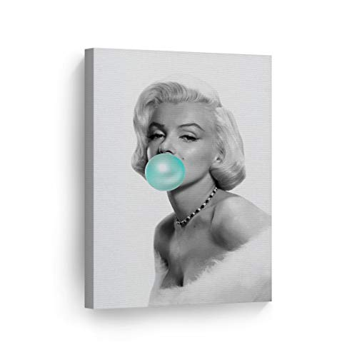 Marilyn Monroe Bubble Gum Chewing Gum Black and White Canvas Print Home Decor/Iconic Wall Art/Gallery Wrapped Canvas Art Stretched/Ready to Hang (12 x 8)