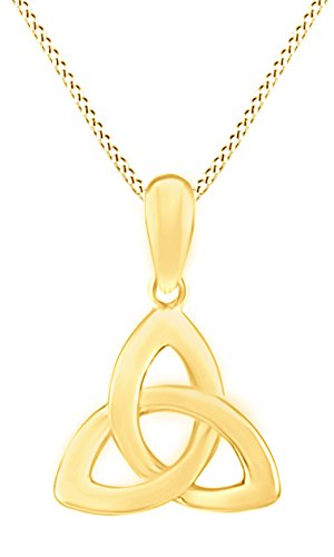 10 Trinity Pendant - Jewel Zone US Trinity Celtic Knot Pendant Necklace In 10K Solid Yellow Gold