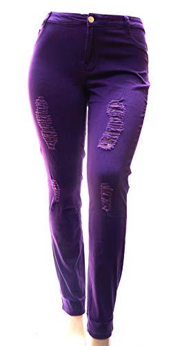 SLS Women's Plus Size Stretch Distressed Ripped Blue Skinny Denim Jeans Pants (24, Ashley Stewart Jean Purple) ()