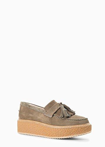 Mango Women's Premium - Platform Suede Loafers, Light.5Pastel Brown, 8½