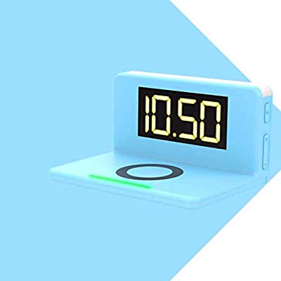 MRXUE Luz de Despertador con 10W Cargador inalámbrico rápido y Puerto de Carga USB Reloj de Alarma Digital LED Display Tiempo lámpara de Noche Regulable ...