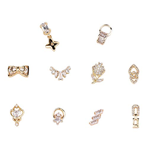 10pcs Gold Nail Dangle Star Zircon Stones Bows 3d Nail Art Decoration Flower Rhinestones Jewelry Design Supplies