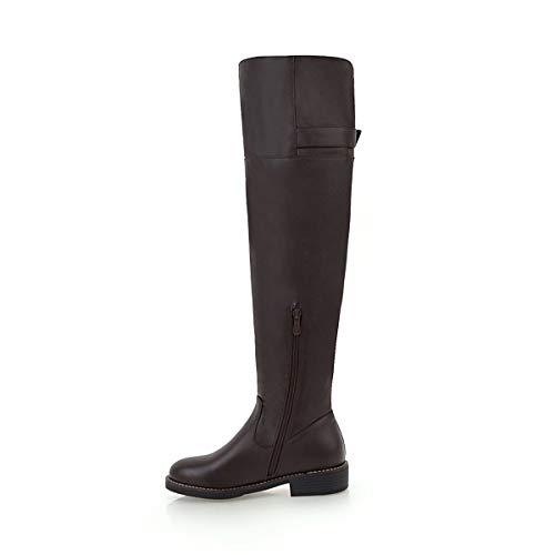 Heels Black Brown The Low Boots Round Over Women Buckle Knee Toe Zip Ladies Heels Fashion Block AHZzAIx