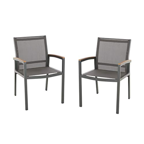 Great Deal Furniture 305223 Emma Outdoor Mesh and Aluminum Frame Dining Chair (Set of 2), Gray