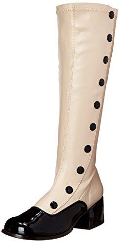 Funtasma Women's Retro-306 Boot, Cream Stripe/Black Patent, 11 M US