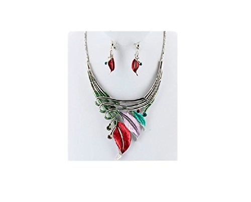 Etched Metal Feather w Rhinestones Accent Art Deco Necklace N' Earring Set Multi