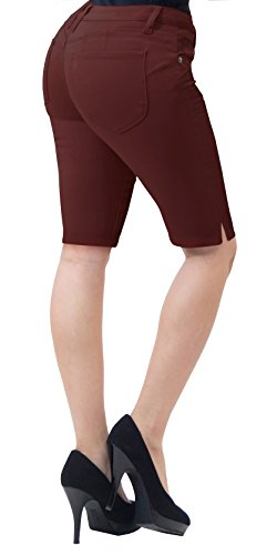HyBrid & Company Super Comfy Stretch Bermuda Shorts B43308 Brown 11 (Brown Shorts Womens)