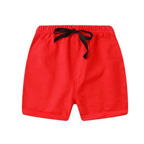 Allwiner Kindershorts jongens meisjes katoenen normale lak elastische taille sport korte broek rood 110 cm, zomer…