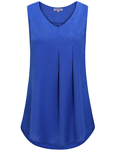 Chiffon Tank Tops for Women,Wifey Summer Vneck Sleeveless Dressy Fashion Work Office Blouses Form Fitting Flowing Cute Tunic Youth Novelty Drapey Beach Shirts Country Boxy Pregnancy Clothes Blue L