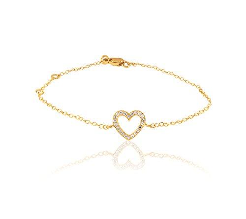 Or Jaune 9 ct Bracelet Diamant en forme de Cœur, 0.09 Ct Diamant, GH-SI, 0.29 grammes.
