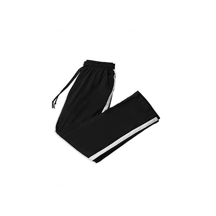 31nMJvAecuL Pantalón largo para deportes, dormir y también para la calle. Los elegantes pantalones de ocio son adecuados para muchos deportes, correr, hacer ejercicio o en el gimnasio. Y también puede como un sudor informal en el tiempo libre. Pantalones de mujer con rayas en los laterales, con cintura elástica con cordón y dos bolsillos. 100% Algodón