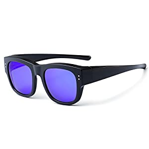 CAXMAN Oversized Fits Over Sunglasses Mirrored Polarized Lens for Prescription Glasses with Soft PU Case, Black Frame Blue Mirror Lens, Size 55mm