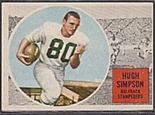 1960 Topps CFL (Football) Card# 29 Hugh Simpson of the Calgary Stampeders VG Condition
