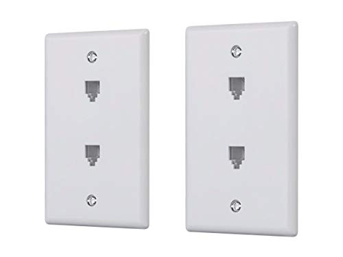 Monoprice Duplex Phone Jack Plate - White (2 Pack) | Terminating 4-Conductor (4P4C) Phone Lines (Wall Plate With Phone Jack)