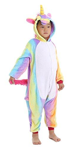 Dingwangyang Unisex-Children Unicorn Pajamas Halloween Animal Cosplay Costume Kigurumi Rainbow Pegasus 140