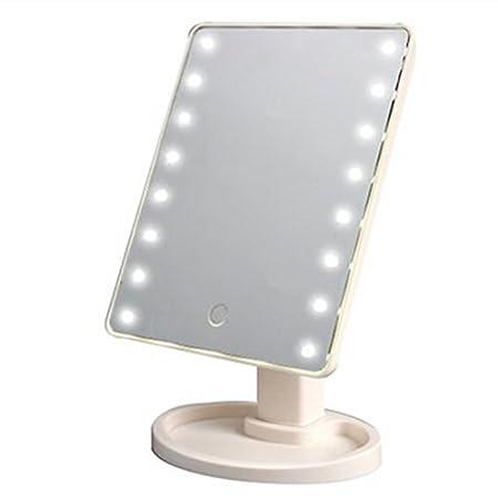 Symboat Miroir Maquillage LED Miroir, Miroir de maquillage pivotant à 360 degrés réglable 16/22 Leds allumé écran à LED miroirs cosmétiques lumineux