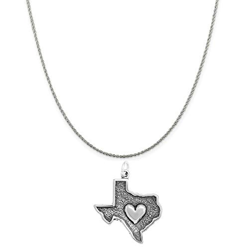 - Raposa Elegance Sterling Silver Heart in Texas Map Charm on a 18