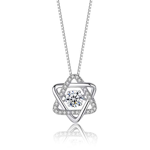 VANA JEWELRY Heart Necklace 925 Sterling Silver Women Necklaces Jewelry Gift for Mother's Day CZ Diamond Dancing Love Open Heart Triangle Angle Wing Queen Crown Girls Anniversary (Triangle-silver) ()