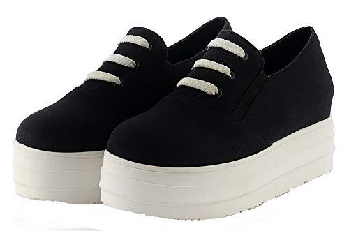 schoenen hak Dames Veterschoenen met Aalardom met PU Tsmdh004295 hak met stevige Zwart hak F18xq