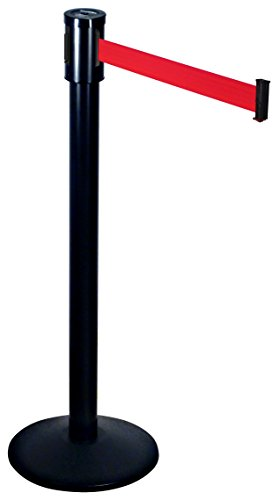 Visiontron 321-BA-RD Single Line Post w/ 15' Retracta-Belt, Black with Red ()