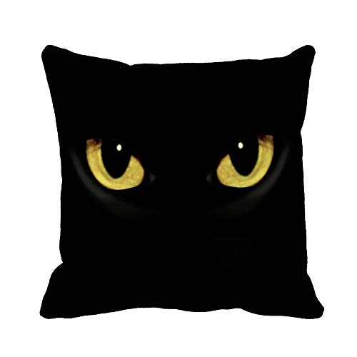 Awowee Throw Pillow Cover Yellow Panther Cat Eyes in Dark Night Green Black 20x20 Inches Pillowcase Home Decorative Square Pillow Case Cushion Cover -