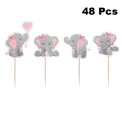 Finduat 48 Pieces Pink Elephant Cupcake Toppers for Girl Baby Shower Decorations Supplies, Baby Girl Birthday Party Supplies(Double Sided)
