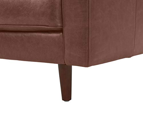 Rivet Aiden Mid-Century Leather Chair with Tapered Wood Legs, 35